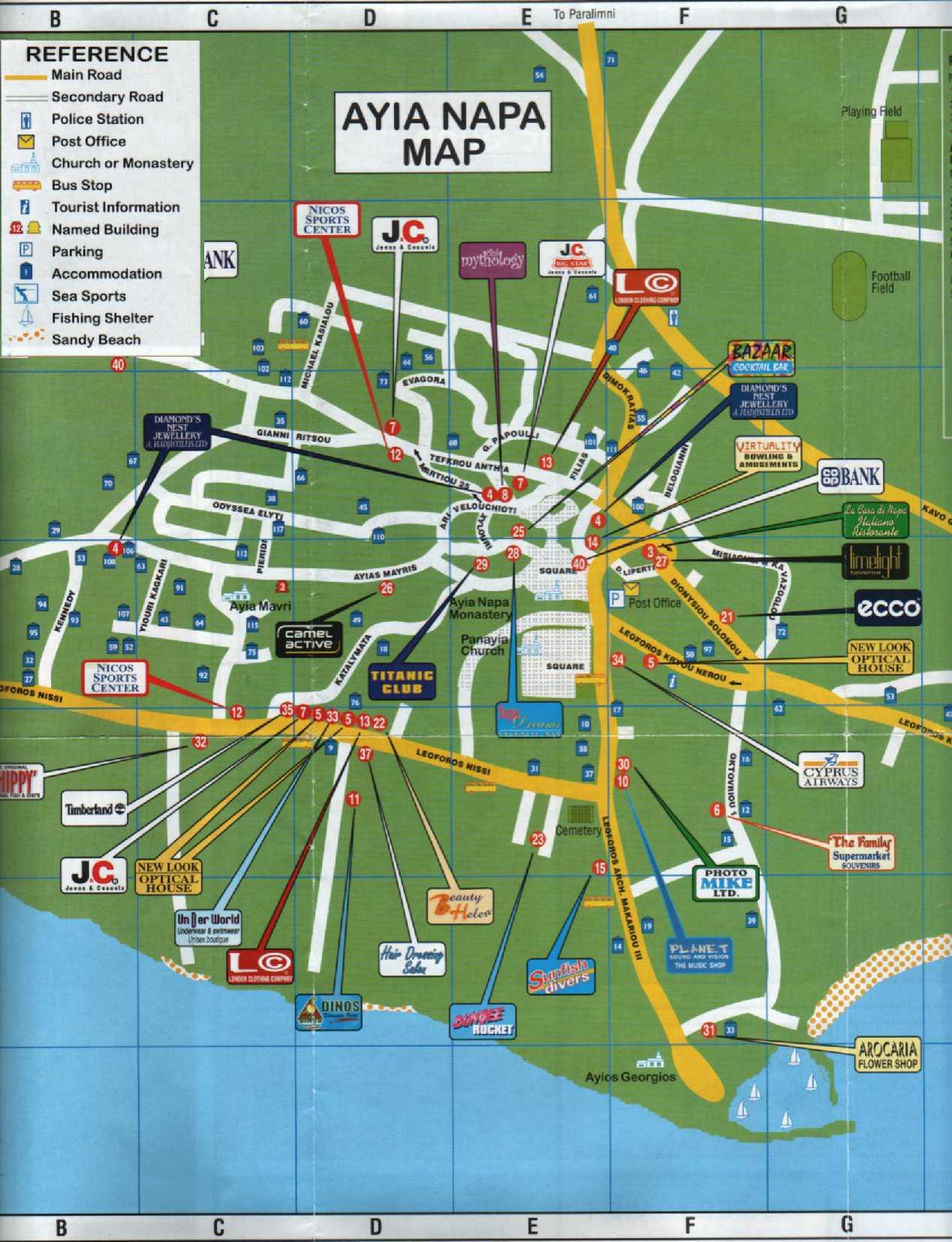 Ayia Napa Map Kart Over Ayia Napa   Kart Ayia Napa Map